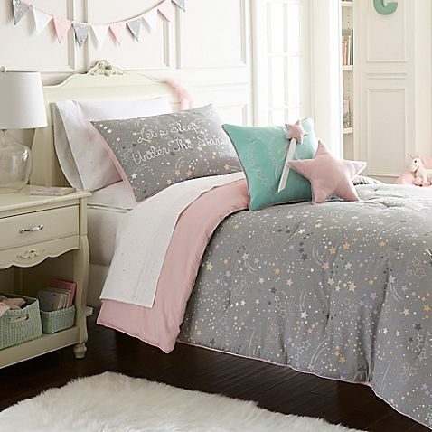 Enjoy stargazing every night at bedtime with the lovely Frank and Lulu Star Light Comforter Set. Featuring a pretty array of stars in colorful pastel hues on a grey ground, this beautiful set will give your bedroom a cheery, peaceful look.