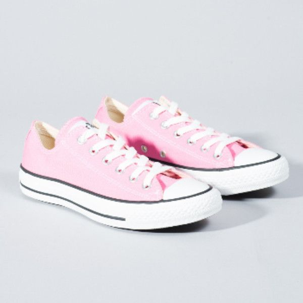Converse Women's Pink All Star Core Ox Trainers ($59) ❤ liked on Polyvore featuring shoes, sneakers, star shoes, converse footwear, converse trainers, pink trainers and converse shoes