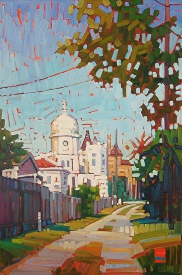 """""""Pathway to Sacred Heart,"""" by Rene Wiley by Rene' Wiley Gallery Oil ~ 30 x 20"""