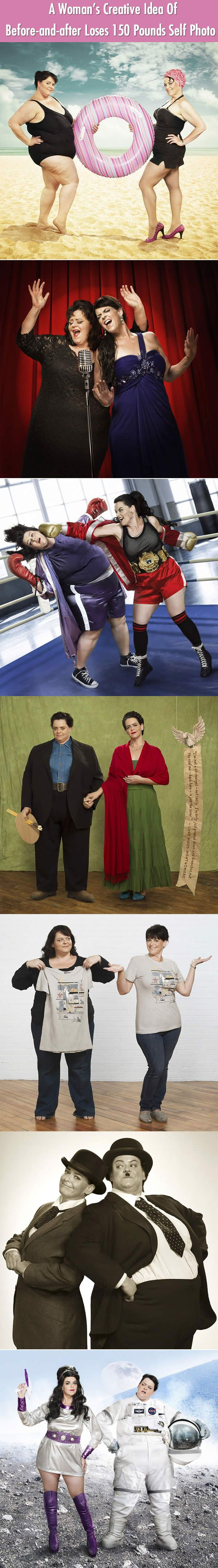 An Awesome Womans Creative Photos Of Before And After Lose 150 Pound Weight.