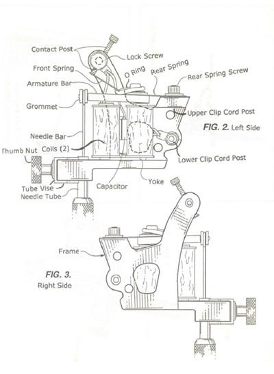 tattoo machine parts diagram