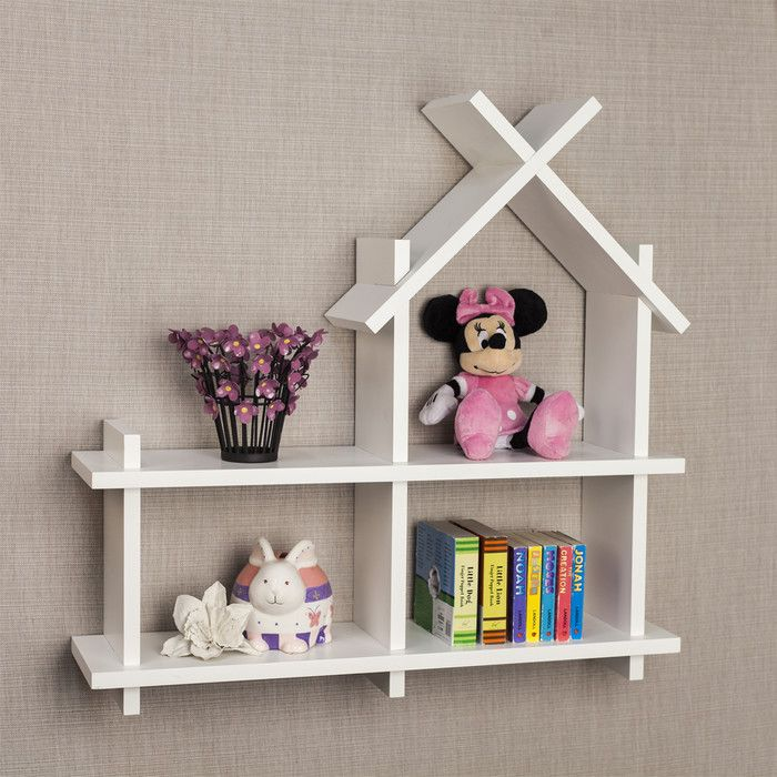Features:  -Easy to clean white finish laminate.  -Great wall decor and organizer for your child's special toys and books.  -Installation type: Wall mounted.  Finish: -Laminate.  Frame Material: -Manu
