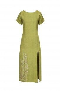 Leaf Green Embroidered Tunic Dress #ekadi #dress #shopnow #perniaspopupshop #happyshopping