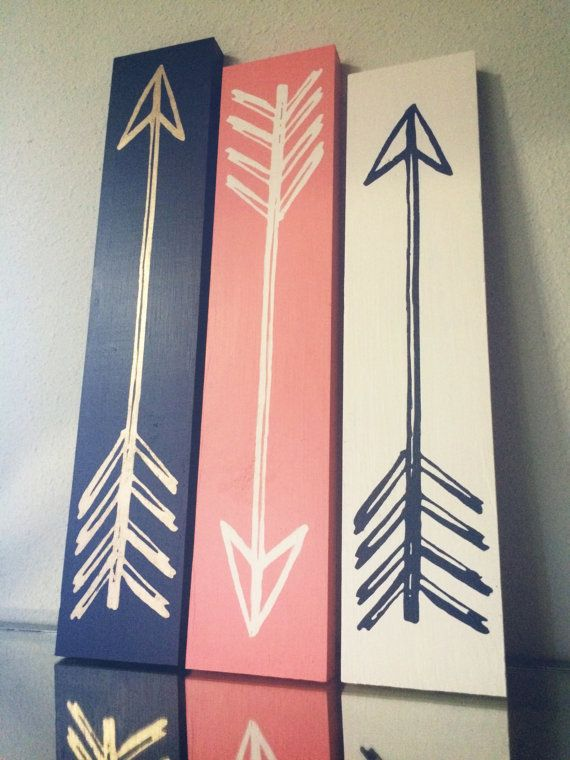 This made to order sign set is made from your choice of new lumber or reclaimed wood, and the arrows are painted gorgeous shades of navy, vintage gold, warm coral, and natural white. They are hand-painted to last you for years to come! Gold arrow will measure approximately 18 x 3.5, white arrow will measure approximately 17 x 3.5, and the navy arrow will measure approximately 16 x 3.5. Will have saw-tooth hanging in the back. READ BEFORE YOU ORDER  Need it sooner? I am currently on a 2 WEEK…