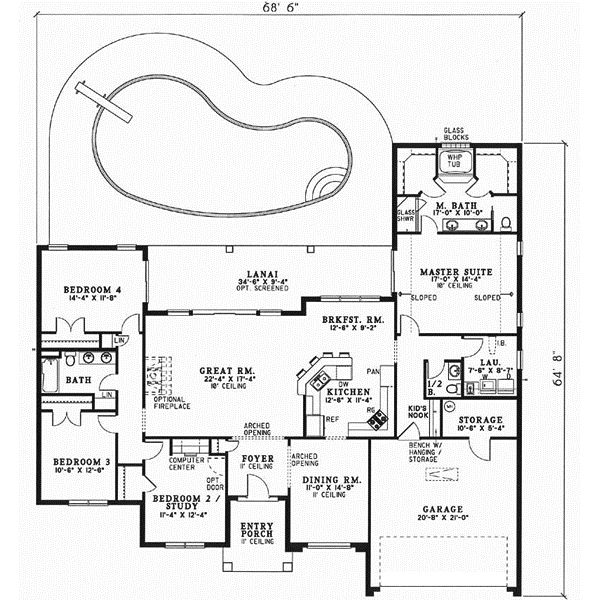 Florida Style House Plans - 2388 Square Foot Home, 1 Story, 4 Bedroom and 2 3 Bath, 2 Garage Stalls by Monster House Plans - Plan 12-462