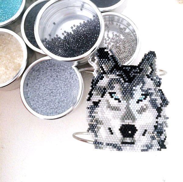 DIY tissage brickstitch perles miyuki motif loup