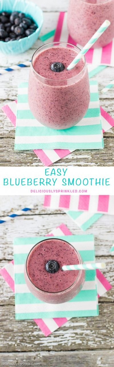 Blueberry Smoothie-a delicious breakfast smoothie that is easy to make and perfect for on-the-go! | deliciouslysprinkled.com