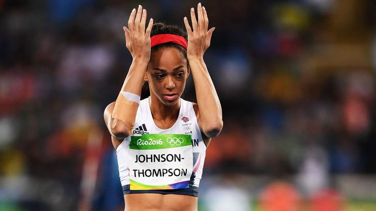 Katarina Johnson-Thompson reacts after a disappointing performance in the javelin