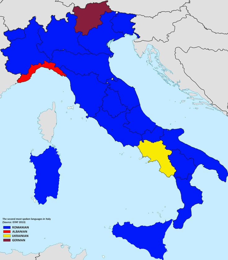 The second most spoken languages in Italy, 2013