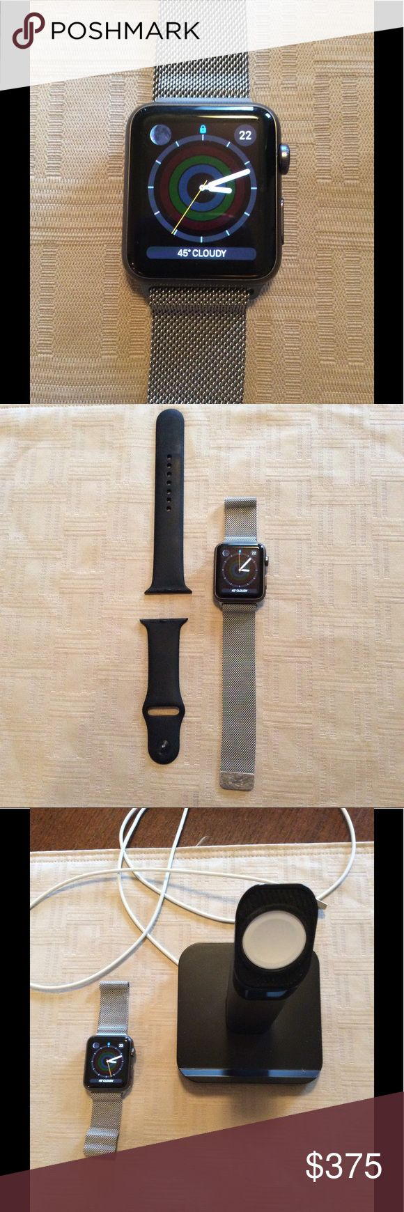 Apple Watch 1 BUNDLE!! Series 1, 42mm, space grey, perfect working condition. Comes with original rubber strap and Apple Milanese magnetic loop. Includes after market charging stand and cord. Original price of Milanese loop $149.  Very minimal wear, not visible to camera's eye. My husband gets tired of his toys quickly 😉 original protective plastic on band case. Apple Accessories Watches