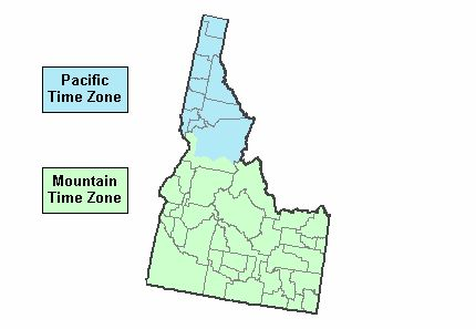 Southern Idaho is in the Mountain Time Zone Northern Idaho is in the Pacific Time Zone