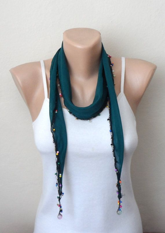 green scarf cotton scarf oya scarf shawls gifts for her