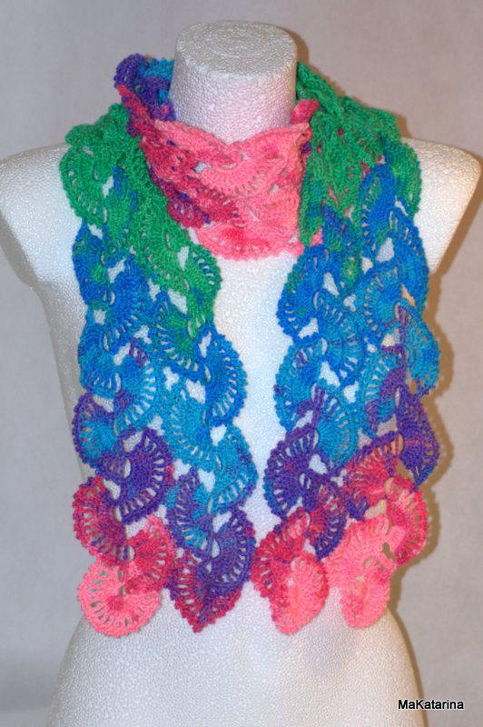 Crochet multiocolor scarf jewel scarf crochet shawl by MaKatarina