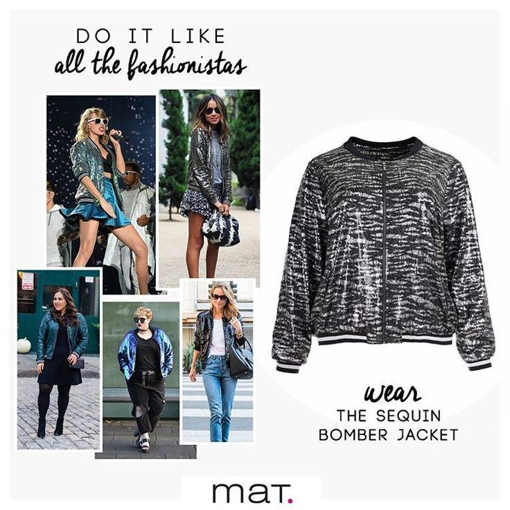 Super hot trend!!! Φέτος το χειμώνα οι fashionistas κερδίζουν τις εντυπώσεις φορώντας bomber jackets με λαμπερές παγιέτες! Aνακάλυψε το #matfashion bomber jacket με κωδικό 661.4095 #fallwinter16 #bomber #jacket #sequin #fashion #trend #fashionista #sparkle