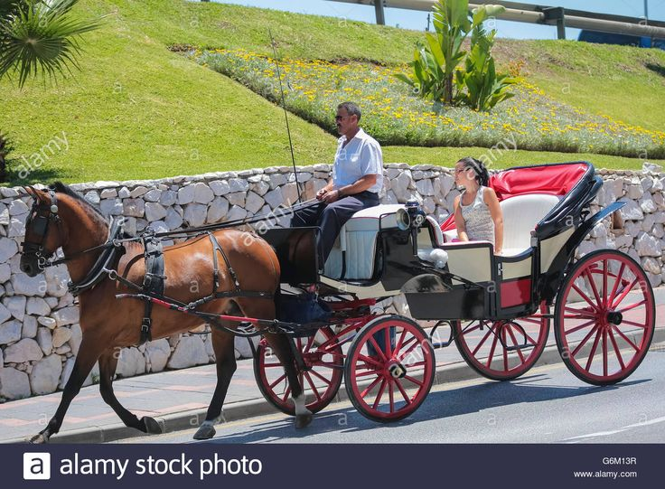 Download this stock image: Tourists in a carriage in Spain, Europe - G6M13R from Alamy's library of millions of high resolution stock photos, illustrations and vectors.