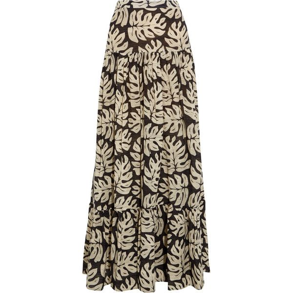 Chloé Printed cotton and wool-blend maxi skirt ($1,410) ❤ liked on Polyvore featuring skirts, saia, palm tree skirt, brown skirt, palm leaf skirt, brown cotton skirt and ankle length skirts