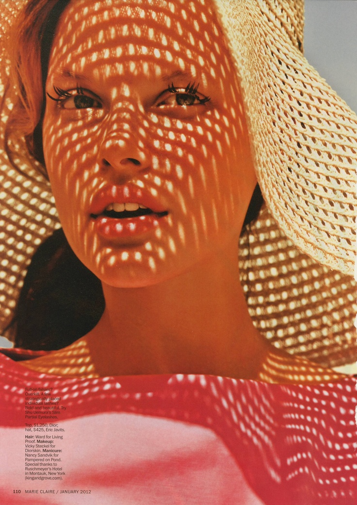 Jan 2012 Marie Claire. It's all about the light play on her face.: Spring Awakening, Summer Hats, Straws Hats, Mary Claire, Enrique Badulescu, Floppy Hats, Bekah Jenkins, Beaches Hats, Sun Hats