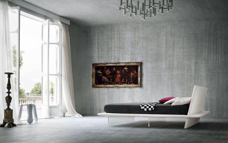 Lit design avec pied en plexi, lit design coffre, lit laqué, tete de lit en cuir, lit 2 places, Lit adultes design, lit adulte taille 160, lit adulte taille 180