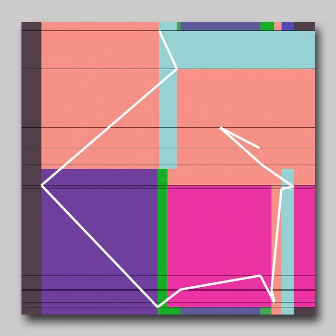 Manfred Mohr P-1611_24, pigment-ink on canvas, 2012, 90 cm x 90 cm