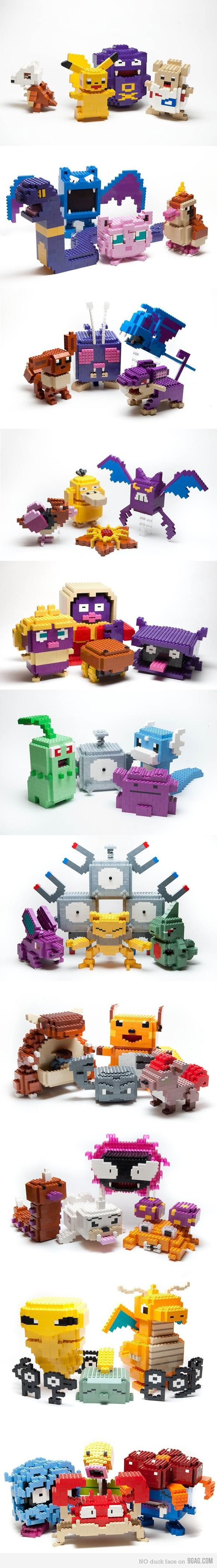 Pokemon Lego Sculptures! My boys would love this. All 3 of them!  LOL