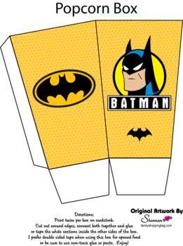 Popcorn Box, Batman, Favor Box - Free Printable Ideas from Family Shoppingbag.com
