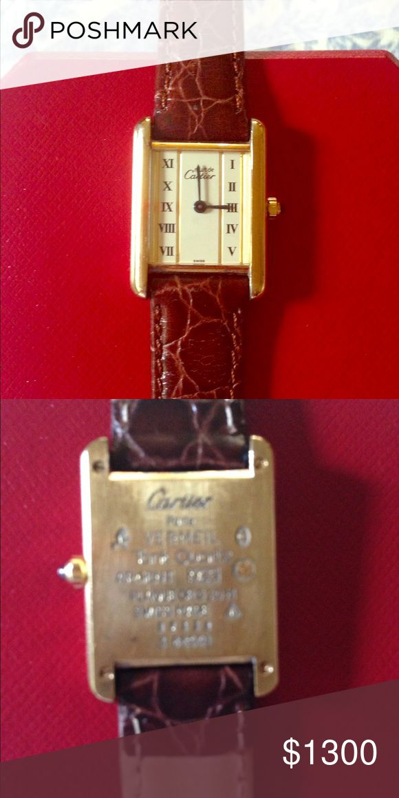 Vintage Cartier watch Beautiful vintage Cartier watch .. I really don't know much about  it or its age . it was found in a box with other estate pieces  when my parents moved . Needs a battery.. On uk eBay for 1100 pounds and that's all I know Cartier Jewelry