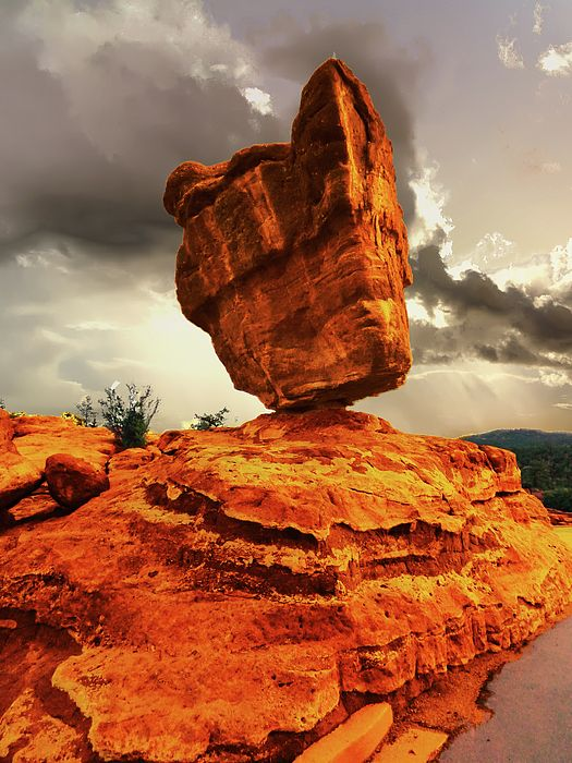 FINE ART PHOTO - This dramatic photograph was taken in Garden of the Gods, in Manitou Springs, Colorado, USA. What beautiful, glowing, red rock formations.