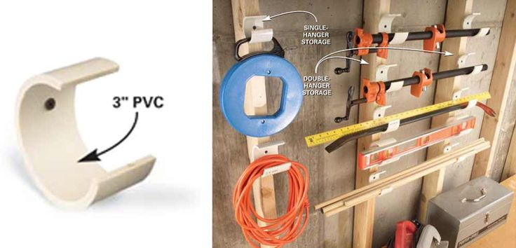 It's true—we love PVC pipe. Or let's say we appreciate the way it inspires and accommodates tool and hardware storage. Here's the latest PVC gem. Cut 2-in. pieces of 3-in. PVC and saw away a 2-in. section so it looks like Pac Man. (Remember Pac Man?) Drill screw holes and attach the hangers to studs or shop walls. Space pairs for convenient horizontal storage of longer tools such as levels and glue clamps, and use single segments for ropes, electrical cords or anything else that you want…