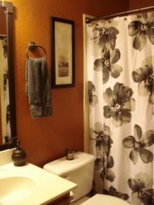 Burnt Orange And Grey Look Great In My Bathroom!