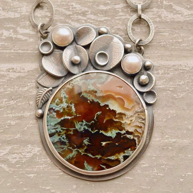 Moss Agate Necklace, Collector Stone, Botanical Silver Jewelry, Handcrafted, Statement Necklace, Detailed Silver Jewelry, 925 Silver by SjostrandStudio on Etsy https://www.etsy.com/listing/597124813/moss-agate-necklace-collector-stone #silverjewelry