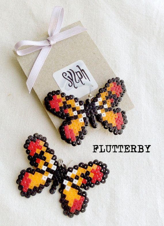 Orange pixelart Flutterby earrings made of Hama Mini Perler Beads in 8bit retro gamer style, for those butterfly lovers! by SylphDesigns