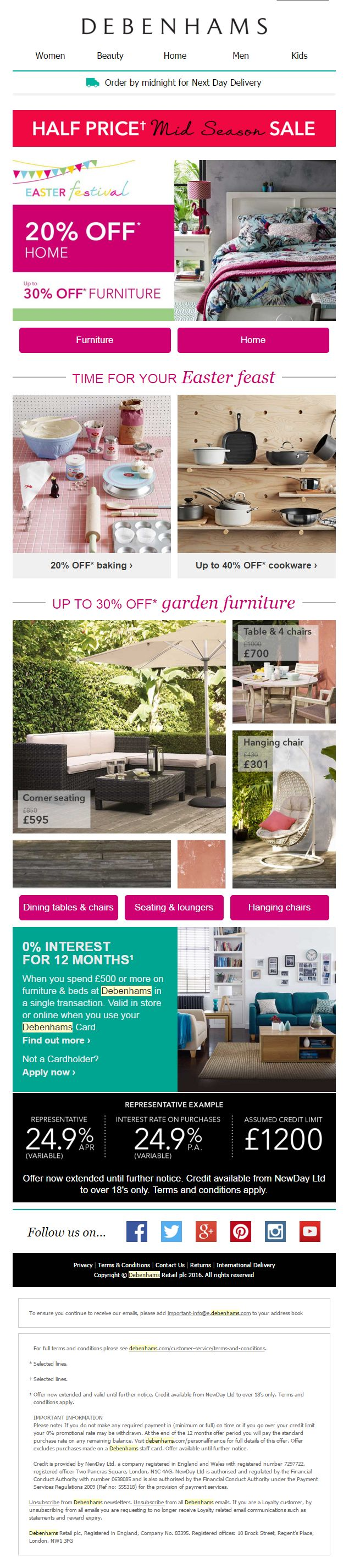 Debenhams Mid Season Sale email with product recommendations #EmailMarketing #Email #Marketing #Product #Recommendation #Home #Garden