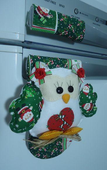 """Pegador Geladeira """"Coruja de Natal"""""""