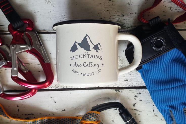 Enamel Mug - Custom Mug - Campfire Mug - Camping Mug - Personalized Mug - Coffee Mug - Tea Cup - Gift - Mountains Are Calling and I Must Go by MugYourself on Etsy https://www.etsy.com/listing/272854512/enamel-mug-custom-mug-campfire-mug