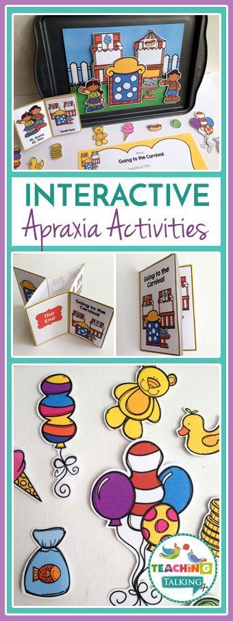 Childhood Apraxia of Speech (CAS) Activities with carnival theme! Interactive games and stories for CV / VC and CVC words. Speech & Language Therapy fun! #apraxia #speech #schoolSLP