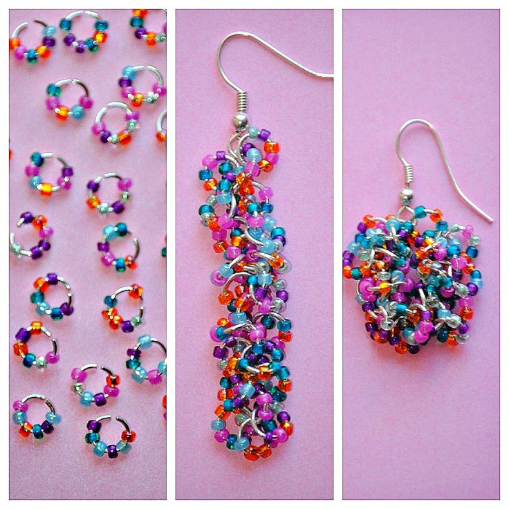 seed bead + jump ring earrings. so cute.