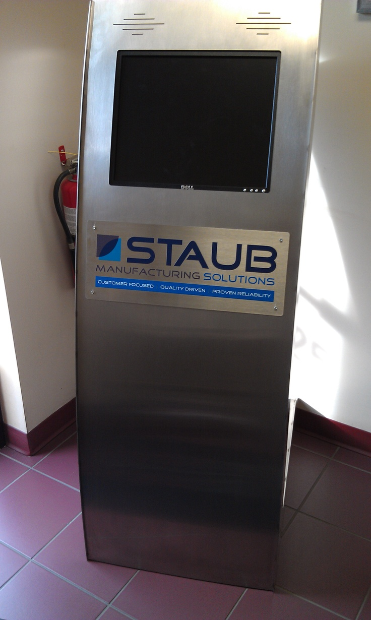 Stainless Steel Kiosk with monitor. A must have for trade shows.