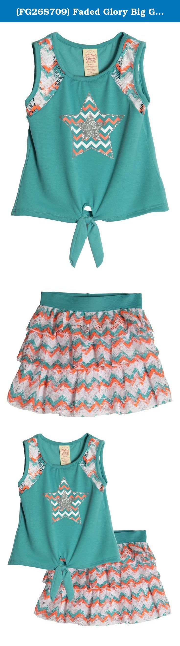 (FG26S709) Faded Glory Big Girls 2 Piece Print Challis Tiered Skirt Set in Mint Size: 6/6X. 2 PIECE Girls Clothing Sets include tunic top and matching skirt. FULLY LINED top is comfortable to wear and made of 95% polyester and 5% Spandex for stretch comfort and easy care. Skort is 100% Polyester and lined with a 60% Cotton and 40% Polyester Short for comfort and modesty. TREND RIGHT PRINTS AND TRIMS - These sets feature Stretch lace and mixed media skirts for a put together sophisticated...