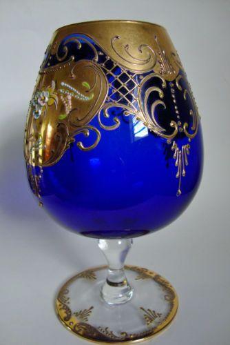 Antique Cobalt Blue With Gold Trim Bohemian Glass Vase