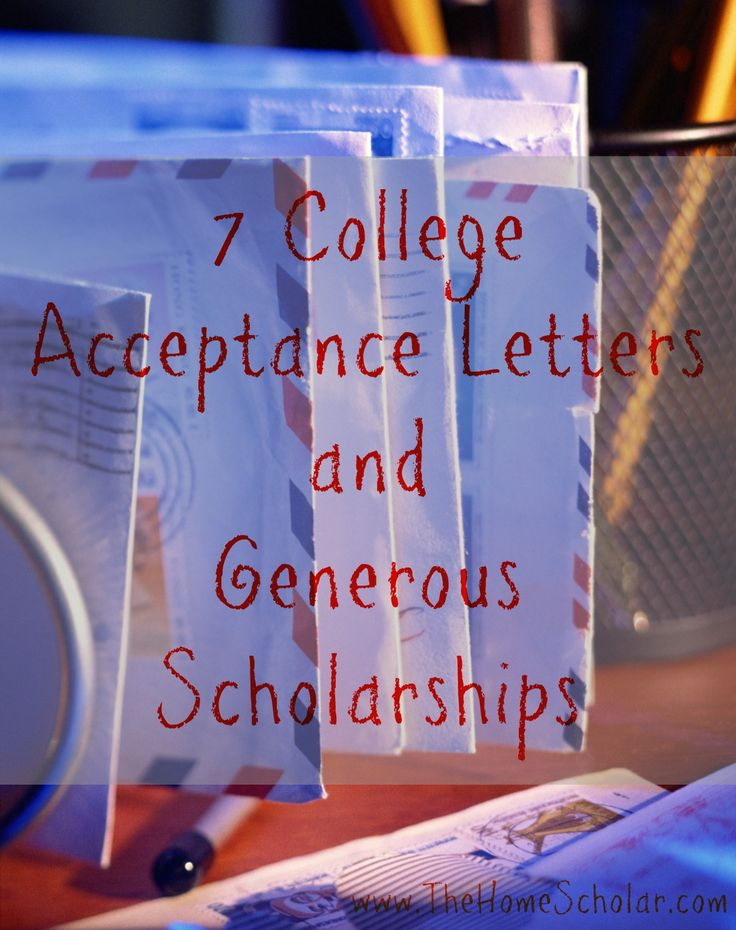 Formula for Success -- college admissions and scholarships - college acceptance letters