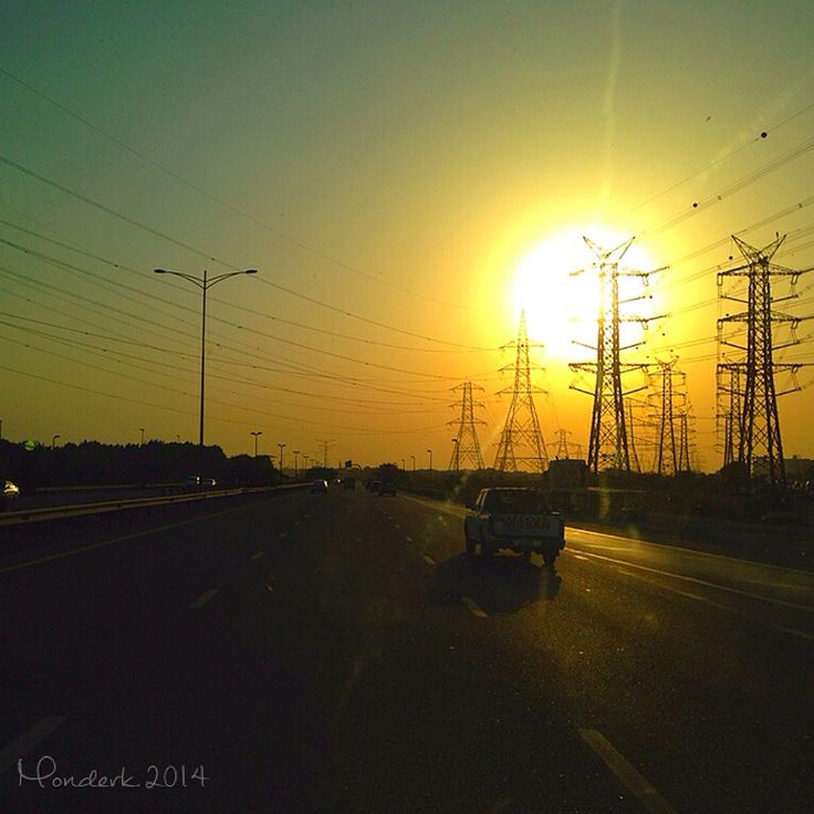 Sunset on the highway in UAE