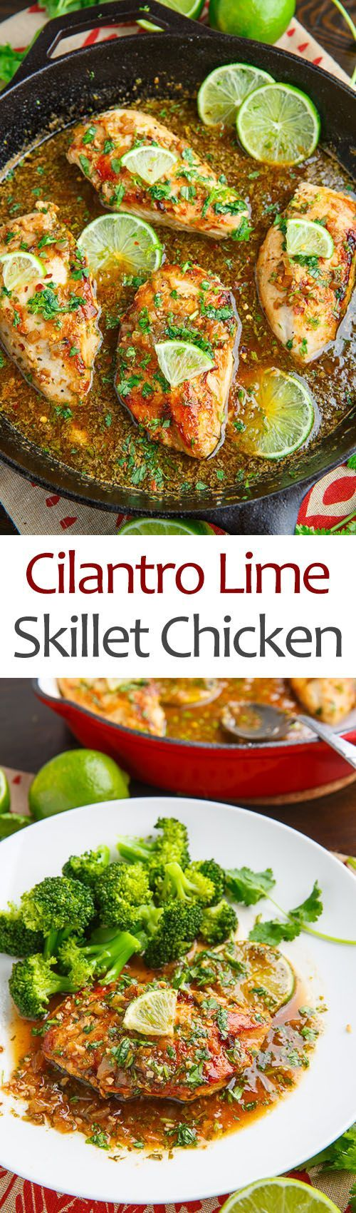 Cilantro Lime Skillet Chicken---- 1 lb thin chicken breast, 1 TB oil, 1 TB butte, S&P, 4 chopped garlic cloves, 1 pinch red pepper flakes (optional), 1/2 cup chicken broth, 1 lime juice and zest, 2 TB chopped cilantro