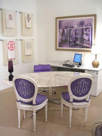 Purple Monogram chairs. FAB!
