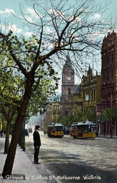 Edwardian postcard featuring 'a glimpse of Collins Street, Melbourne, Victoria'