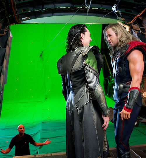 You can clearly see Loki's helmet on Thor's wrist band. This was placed there to honor Loki since Thor thought him dead.