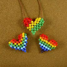 Rainbow and Rasta Puffy Heart Patterns by Chris Prussing  http://www.bead-patterns.com/shop/shop.php?method=itemnumber&keywords=16234