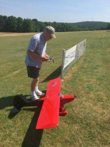Frank Evanoski, Kingston, lands his T-Clipse remote controlled airplane after flying it for a few minutes at the annual Fun Fly event sponsored by Wyoming Valley RC Flyers Club at Moon Lake Park in Plymouth Township on Sunday.