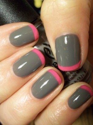 Grey & PinkColors Combos, Nails Art Ideas, Nailart, French Manicures, Pink Nails, Nailpolish, Gray Nails, Nails Polish, French Tips