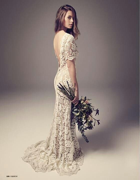 "Ivy & Aster ""Posey"" lace wedding gown. Love the colours - ivory lace over champagne dress"