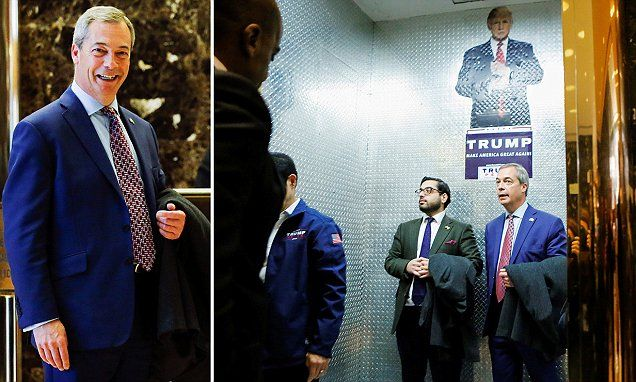 This sight sends shivers down my back Nigel Farage poses with Donald Trump in his New York bling palace